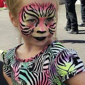 Orlando Festival Face Painter Artist Zebra Face Paint