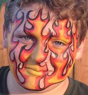 JoAnna Esposito Festival Face Painter in Tampa St Petersburg Florida CT USA flames