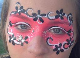 JoAnna Esposito Festival Face Painter in Tampa St Petersburg Florida CT USA pink and black mask