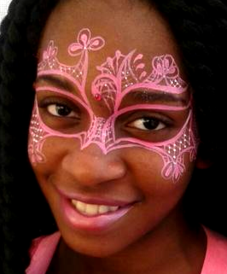 JoAnna Esposito Mardi Gras Mask face painting Tampa FL Face Painter